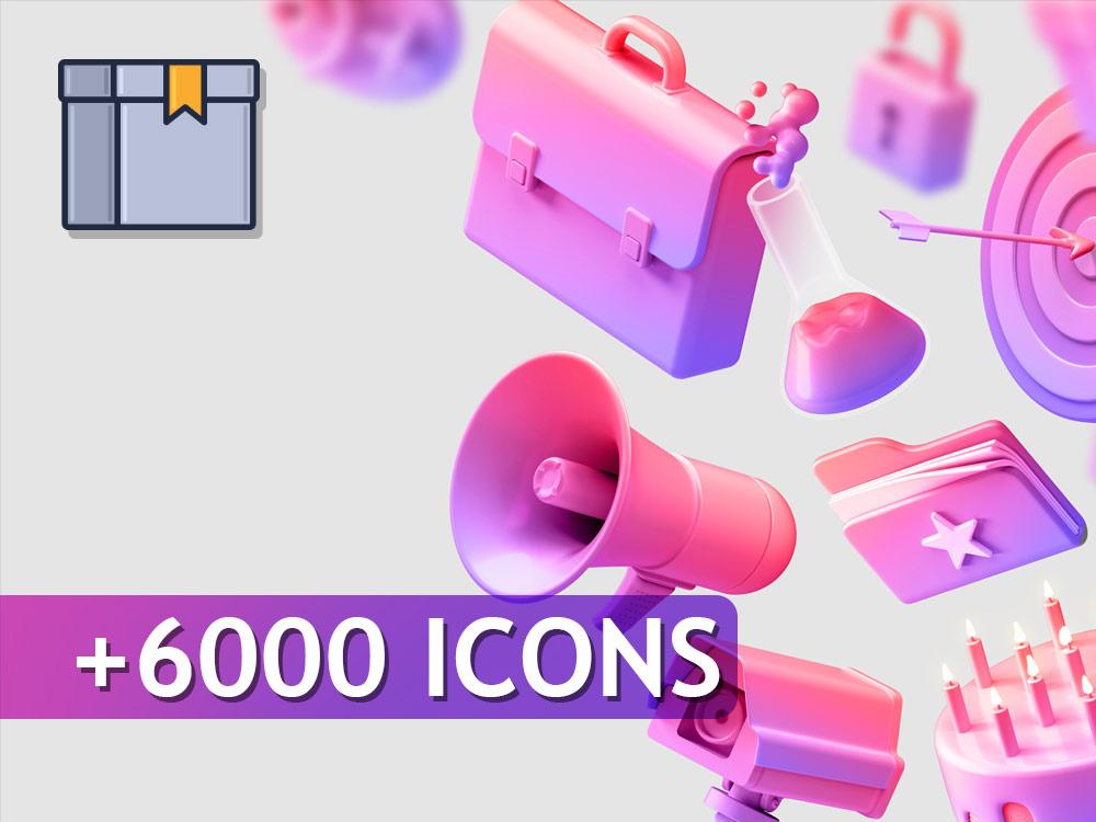 مجموعه عظیم 6000 آیکون وکتور | وبتالیک